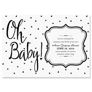Custom Oh Baby Hearts Birth Announcements