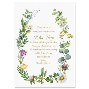 Custom Laurel Botanical Invitations