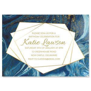 Custom Modern Marble Indulgence Invitation