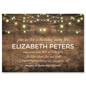 Custom Rustic Lights Invitations