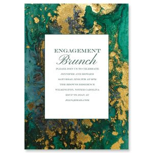 Custom Emerald & Gold Agate Invitations
