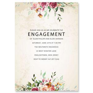 Custom Fresco Floral Engagement Invitations