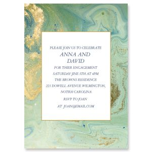 Custom Teal and Gold Agate Invitations