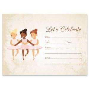 Ballerina Fill In The Blank Birthday Invitations