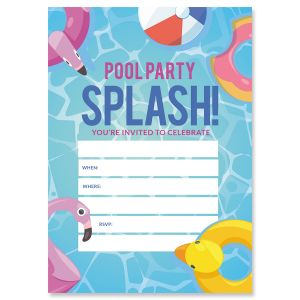 Pool Party Fill In The Blank Birthday Invitations