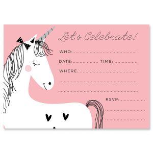 Simple Unicorn Fill In The Blank Birthday Invitations