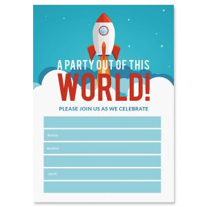 Out of This World Fill In The Blank Birthday Invitations