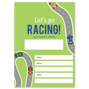 Race Car Fill In The Blank Birthday Invitations