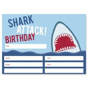 Shark Attack Fill In The Blank Birthday Invitations