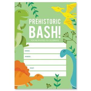 Prehistoric Bash Fill In The Blank Birthday Invitations