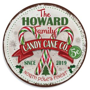Personalized Candy Cane Co. Tin Sign