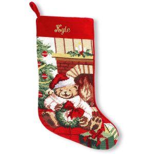 Teddy Bear Heirloom Needlepoint Custom Christmas Stocking