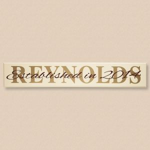 """Established In"" Personalized Wooden Sign"