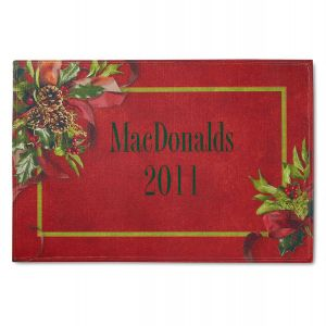 Holly Ribbons  Personalized Doormat