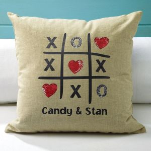 Tic Tac Toe  Burlap Pillow