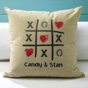 Tic Tac Toe  Burlap Pillow