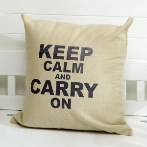 Keep Calm and Carry On Burlap Pillow
