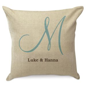 Large Initial Burlap Pillow