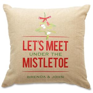 Mistletoe Burlap Pillow