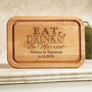 Eat, Drink and Be Married Red Alder Cutting Board
