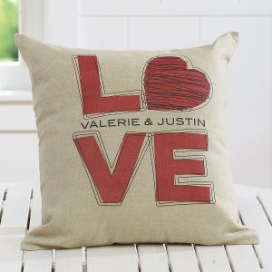 L-O-V-E Personalized Burlap Pillow