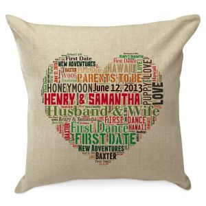 Heart Word Art Personalized Burlap Pillow