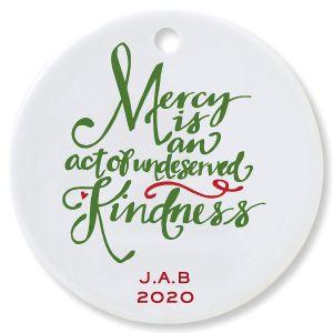 Custom Mercy Round Christmas Ornament