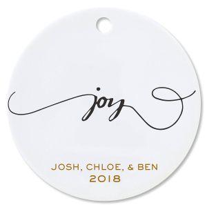 Custom Joy Round Christmas Ornaments