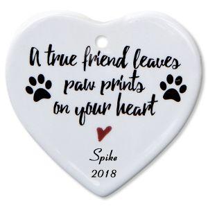 A True Friend Heart Pet Memorial Custom Christmas Ornament