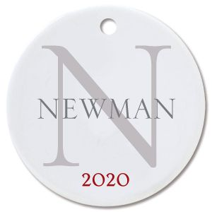 Name with Initial Custom Christmas Ornament
