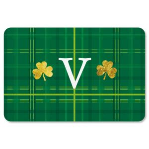 Custom Shamrock Plaid St Patrick's Day Doormat