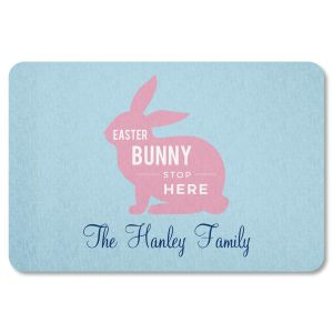 Custom Easter Bunny Stop Here Doormat