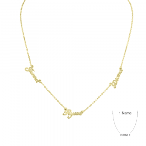 Personalized Gold Plate Multi Name Necklace