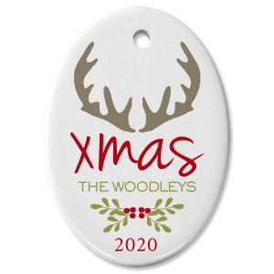 Antlers Oval Custom Christmas Ornament