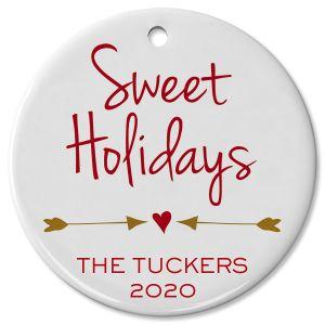 Custom Sweet Holidays Round Christmas Ornament
