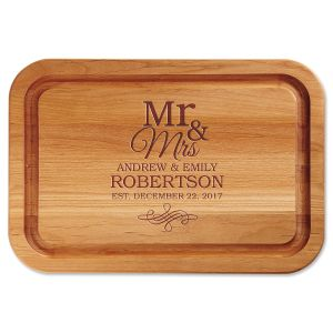 Personalized Mr. & Mrs. Custom Wood Cutting Board