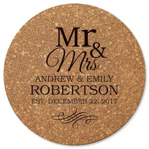 Mr. & Mrs. Custom Round Cork Trivet