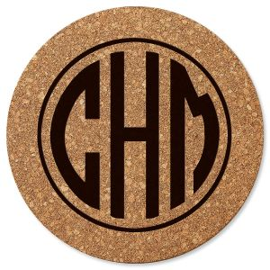 Circle Monogram Custom Round Cork Trivet