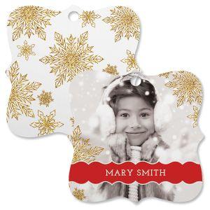 Glitter Snowflake Custom Photo Ornament – Square Bracket