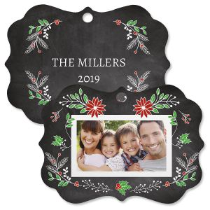 Festive Chalk Custom Photo Ornament - Bracket