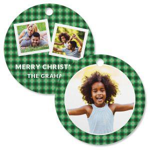 Green Plaid Photo Ornament – Circle