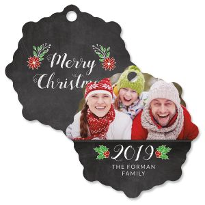 Merry Chalk Custom Photo Ornament – Snowflake