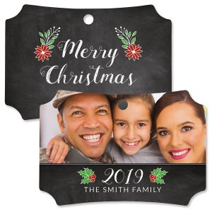 Merry Chalk Custom Photo Ornament – Deluxe