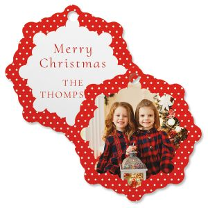 Polka Dot Custom  Photo Ornament – Snowflake