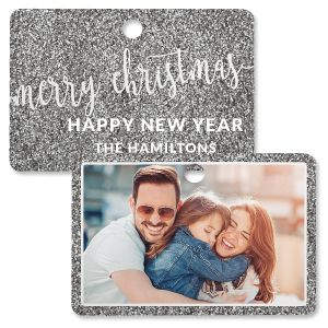 Silver Glitter Custom Photo Ornament – Rectangle