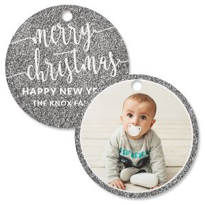Silver Glitter Custom Photo Ornament – Circle