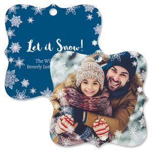 Let It Snow Photo Ornament – Square Bracket
