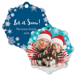 Let It Snow Custom Photo Ornament – Snowflake