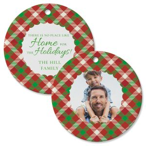 Scallop Plaid Custom Photo Ornament – Circle