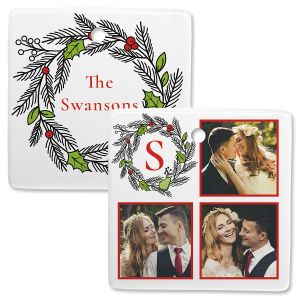 Wreath Custom Photo Ornament – Square 3